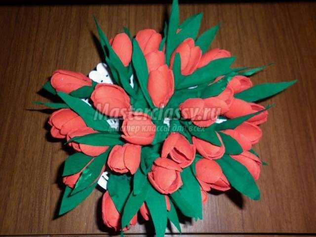 Тюльпаны из салфеток своими руками пошаговое фото 6