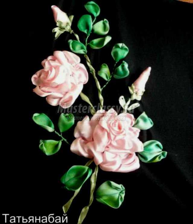 Сделать розы из лент своими руками фото