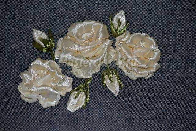 вышивка-аппликация из лент. Косметичка розы