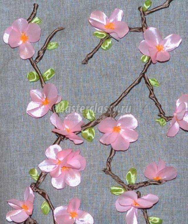 Вышивка ветка сакуры