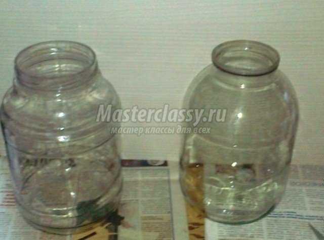 Как сделать из 3 литровой банки вазу своими руками 2