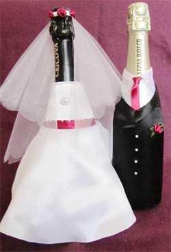 Как оформить свадебное шампанское своими руками