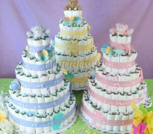 Торт из памперсов на крестины,