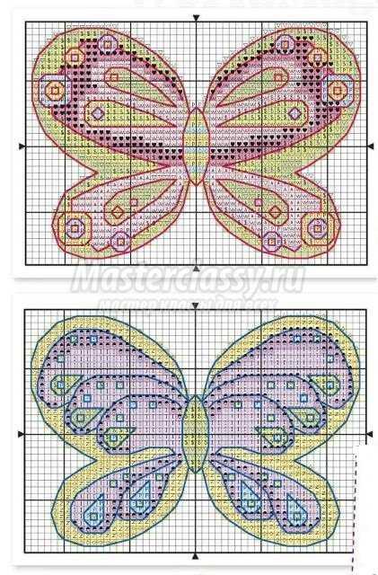 Оригинальные бабочки, вышитые крестиком