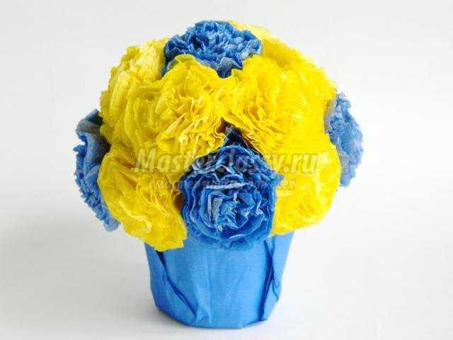 Цветы в горшке из салфеток мастер класс с пошаговым фото
