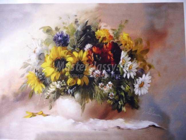 Вышивка картины с цветами лентами