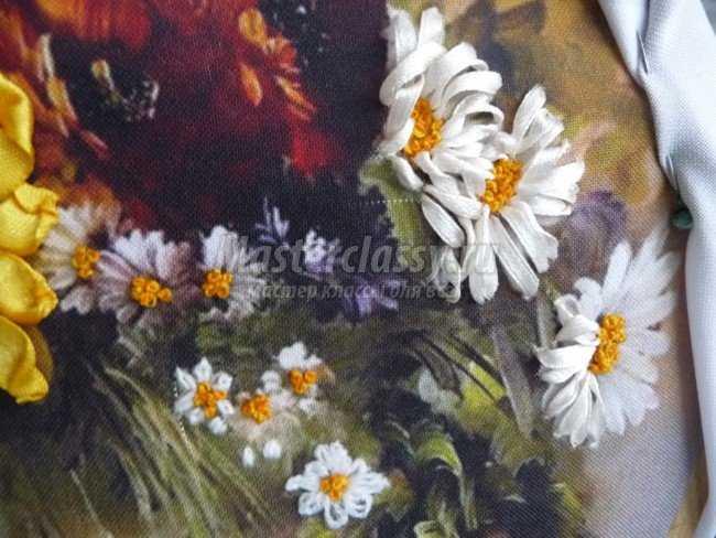 Вышивка картины лентами. Цветочная радость