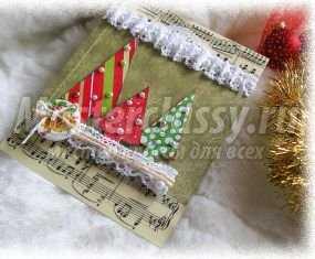Скрапбукинг новогодние открытки с елочкой