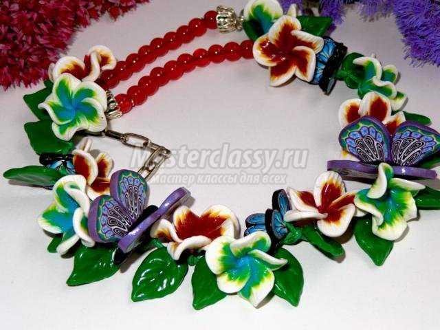 браслет и колье из полимерной глины с цветами