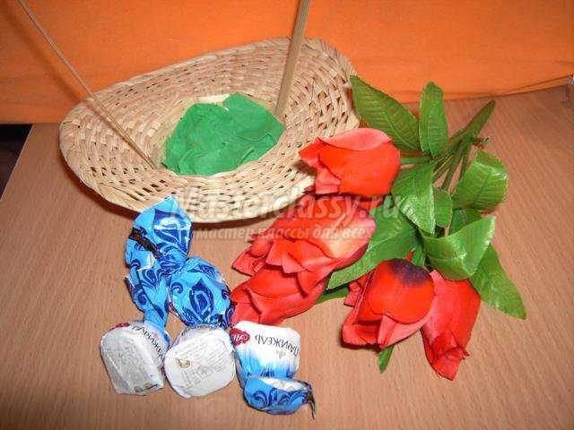 Корзина с цветами из конфет своими руками мастер класс фото