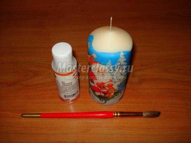 новогодняя свеча в технике декупаж