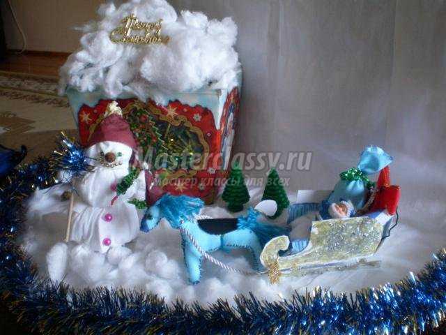 Композиция снеговик и елка своими руками