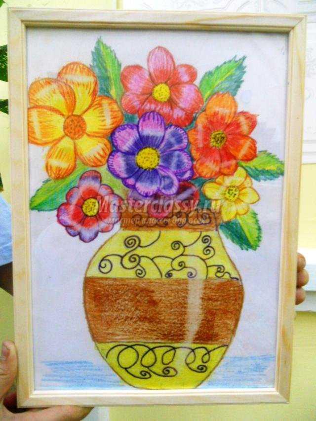 Рисунки цветными карандашами ваза
