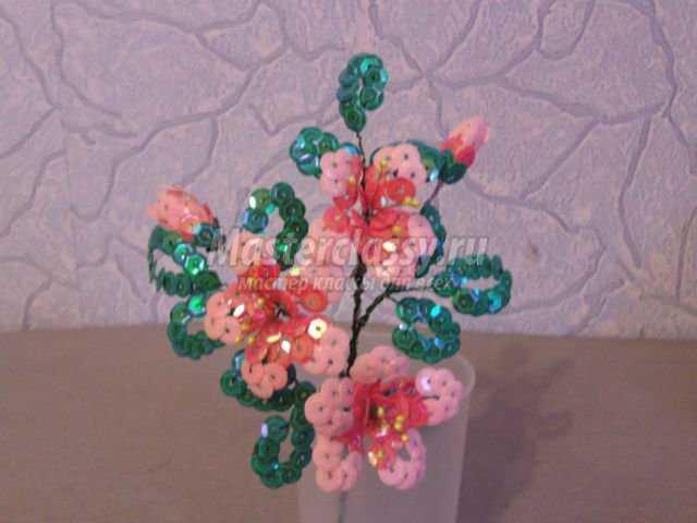 букет цветов из пайеток.