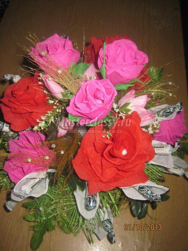 Цветы из бумаги с конфетами своими руками мастер класс фото фото 195