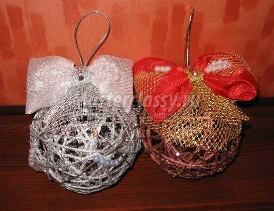 Новогодние игрушки шары своими руками фото
