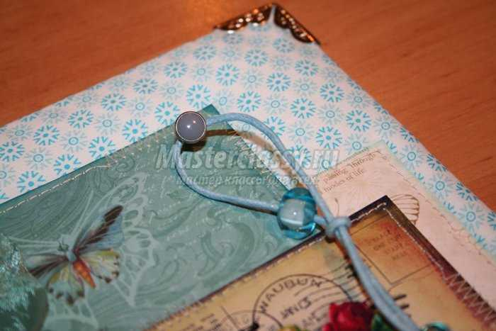 Блокнот на кольцах в технике скрапбукинг «Голубая лагуна»