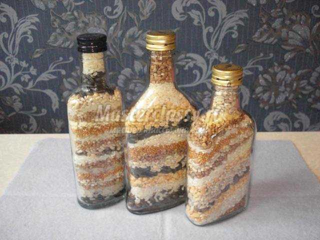 декоративные бутылки с крупой своими руками