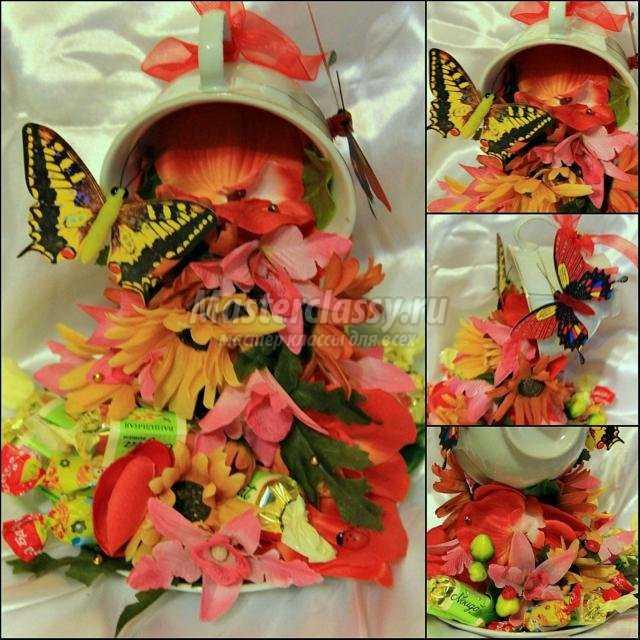 парящая кружка с цветами