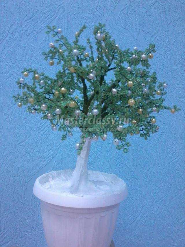 Яблочное дерево из бисера мастер класс подробно #6