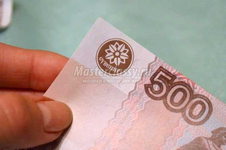 Новогодний денежный топиарий из денег фото