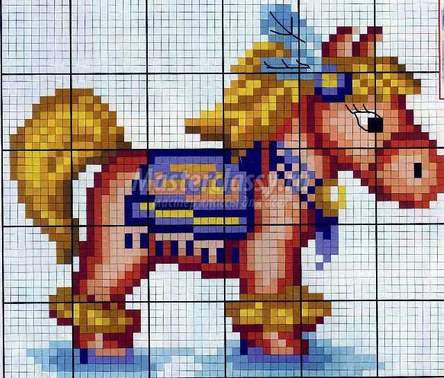 Схема вышивки лошади крестом