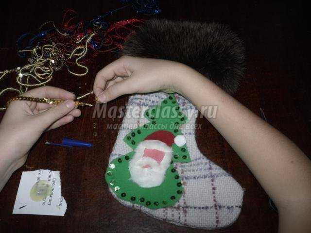 новогодний сапожок из ткани своими руками