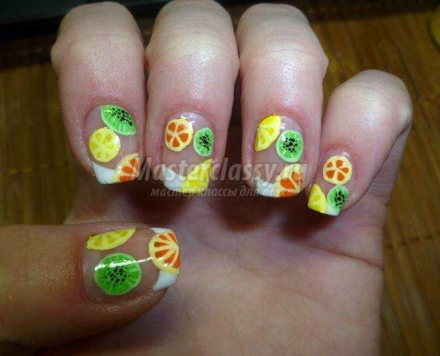 Роспись ногтей. Маникюр «Летние фруктики»