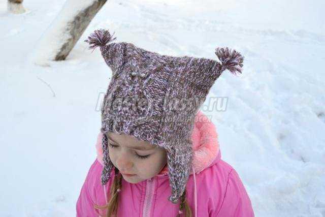 вязаная спицами шапочка для девочки. Сова