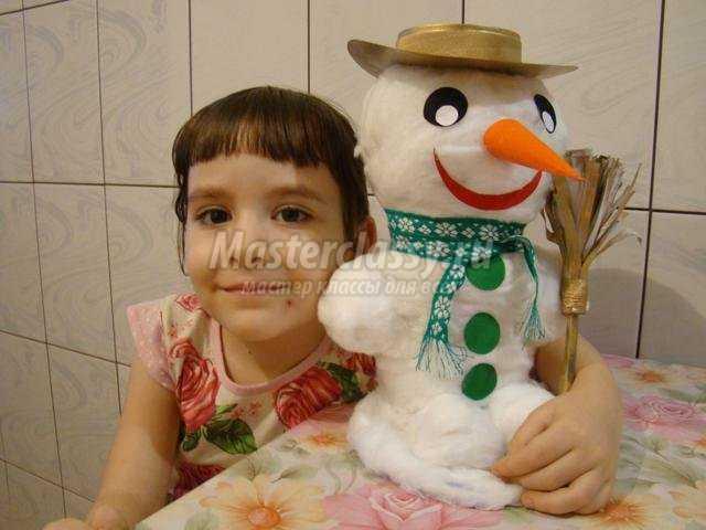Снеговик из ваты своими руками мастер класс