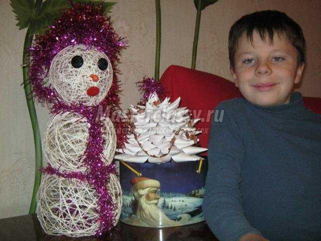 снеговик из ниток своими руками. Зимняя сказка