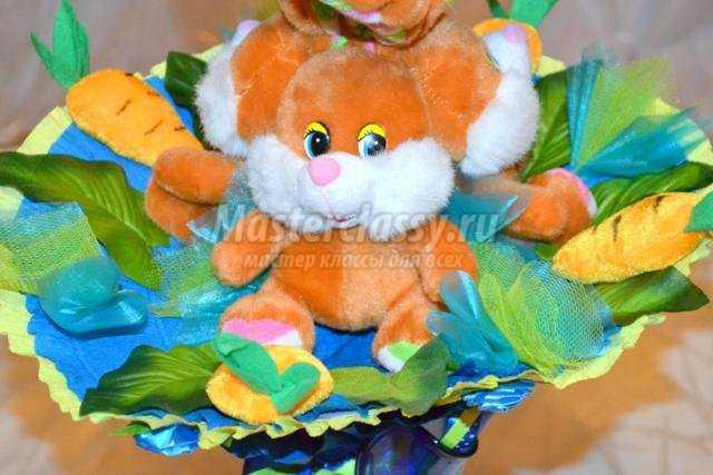 Букет с одной мягкой игрушкой своими руками