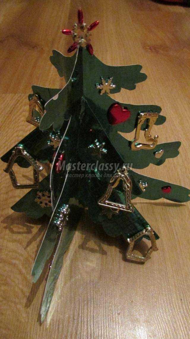 Объемная новогодняя елочка из картона