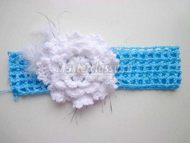 вязаная повязка крючком для девочки