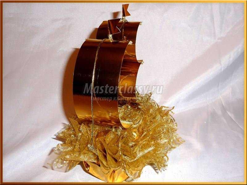 Корабль из конфет мастер класс с пошаговым для начинающих