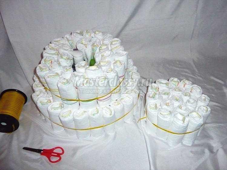 Торт из памперсов своими руками пошагово фото для девочек 18