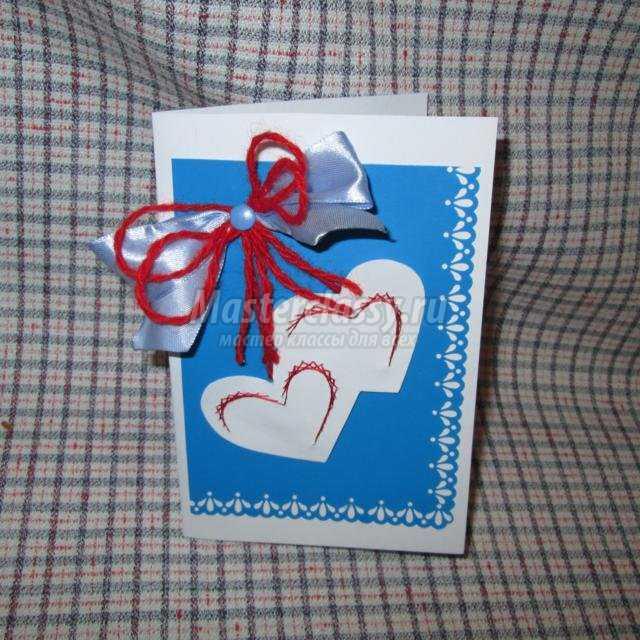 изонить. Открытка с сердечками ко Дню Святого Валентина