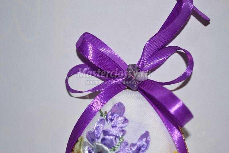 Пасхальная вышивка лентами. Декоративное яйцо