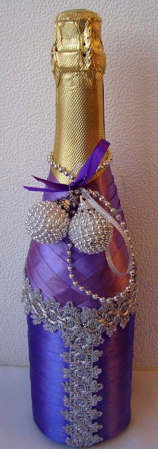 Бутылки шампанского своими руками из атласных лент