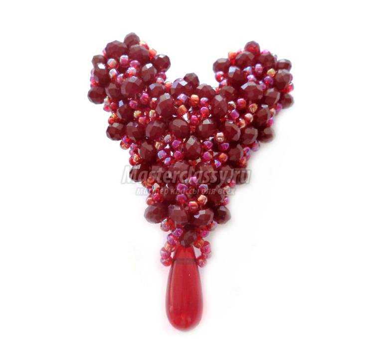 брошь из бисера ко Дню Святого Валентина