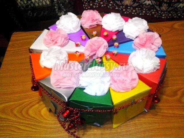Шаблон бумажный торт с пожеланиями
