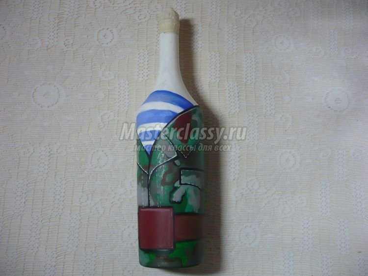 Роспись бутылки к 23 февраля