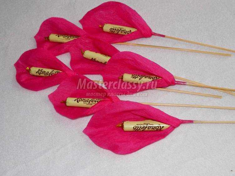 Цветы из конфет своими руками поэтапно
