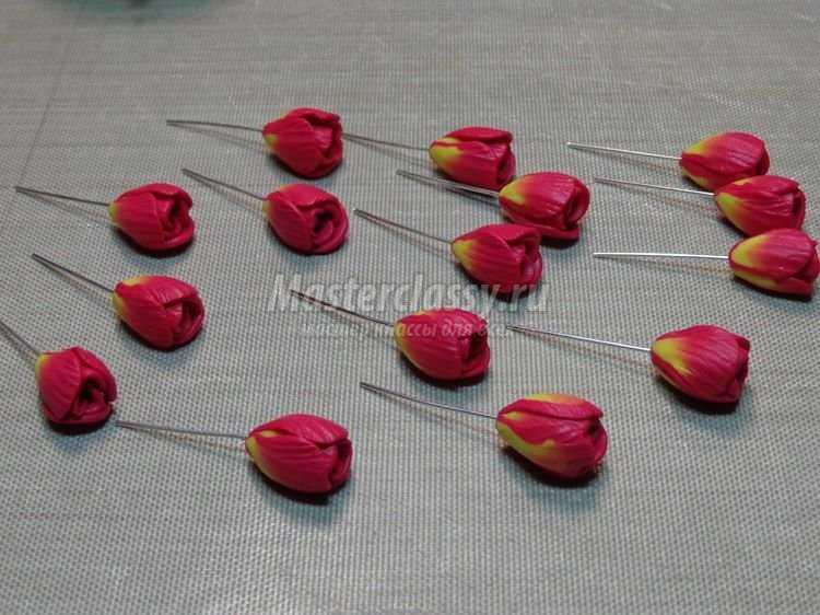 Тюльпан из полимерной глины мастер класс с пошаговым фото