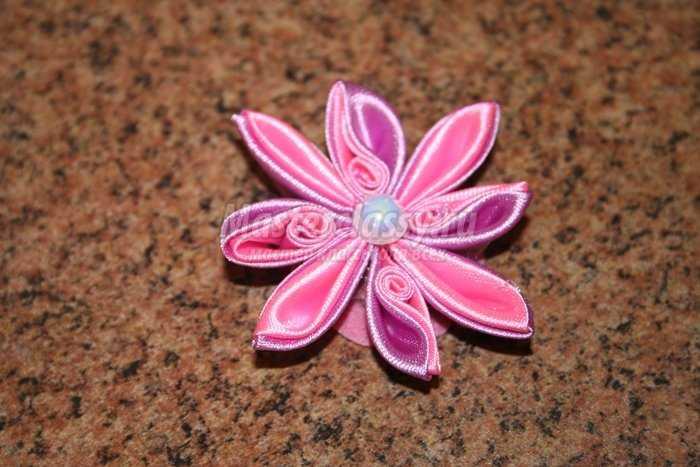 Цветы из лент канзаши своими руками с пошаговым фото