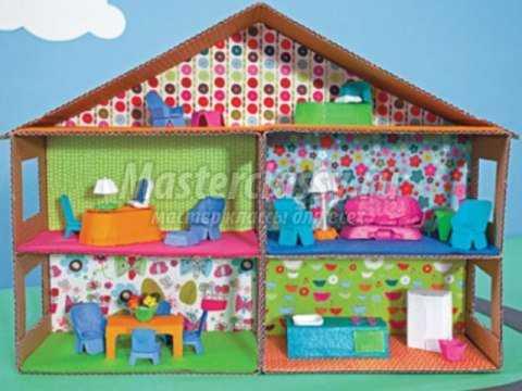 Кукольный домик своими руками фото из коробок