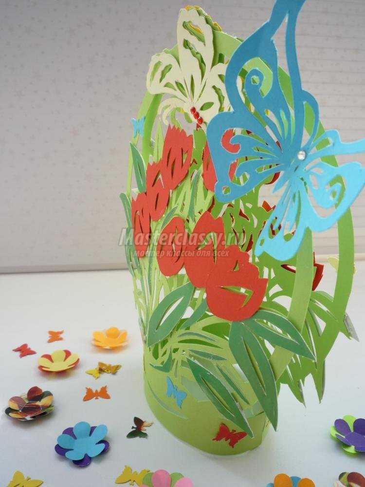 объемная открытка с тюльпанами