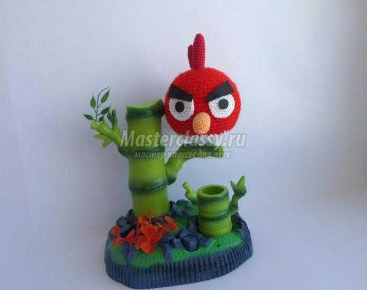 вязаная крючком птичка из Angry Birds