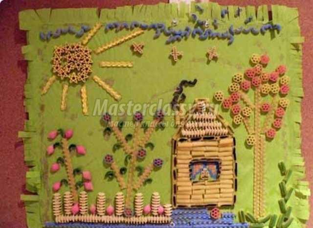 Картины из макаронных изделий для детей