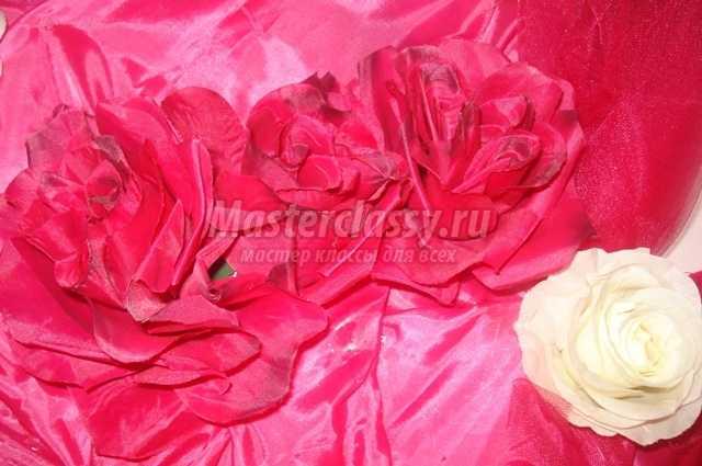 Роза из органзы пошаговое фото